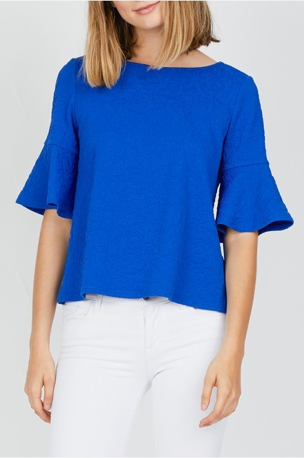 Jacquard Bell Sleeve Top