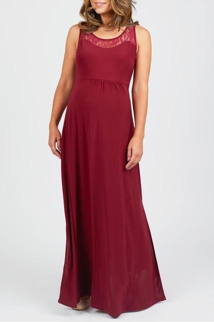 Lace Yoke Nursing Dress