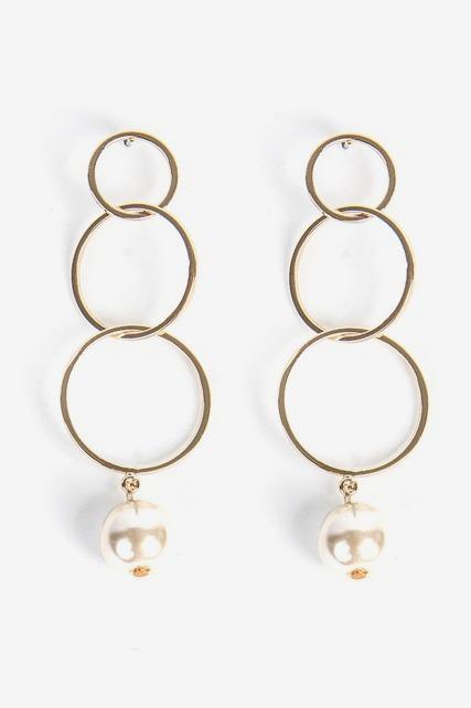 Triple Hoop Pearl Earring