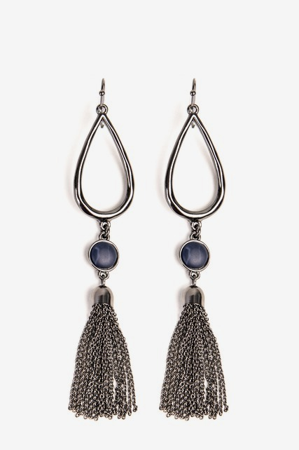 Large Teardrop Fringe Earring