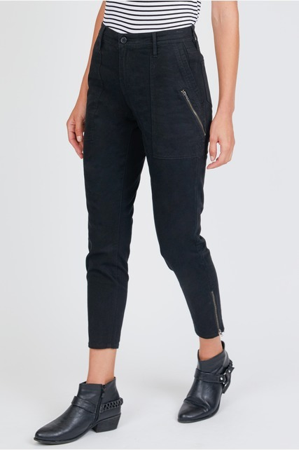 Washed Zipper Detail Pant