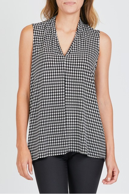 Houndstooth V Neck Top