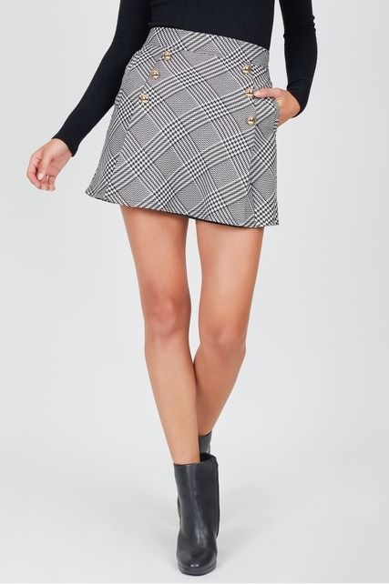 Plaid Side Button Skirt
