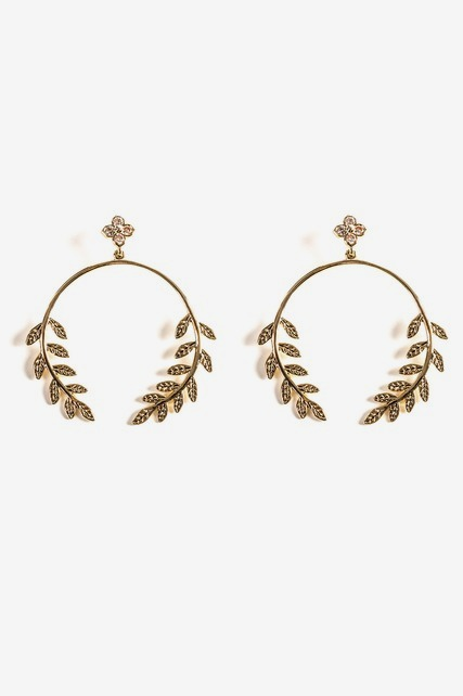 Large Leaf Hoop Earring