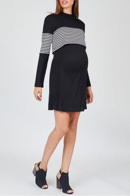 Stripe Panel Tunic Dress