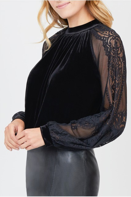 Mock Neck Lace Blouse
