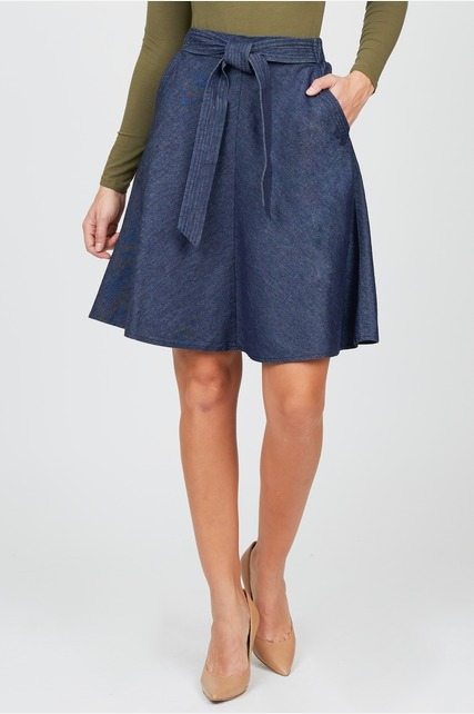 Chambray Tie Skirt