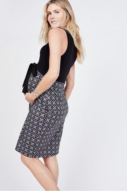 Geo Print Belted Dress