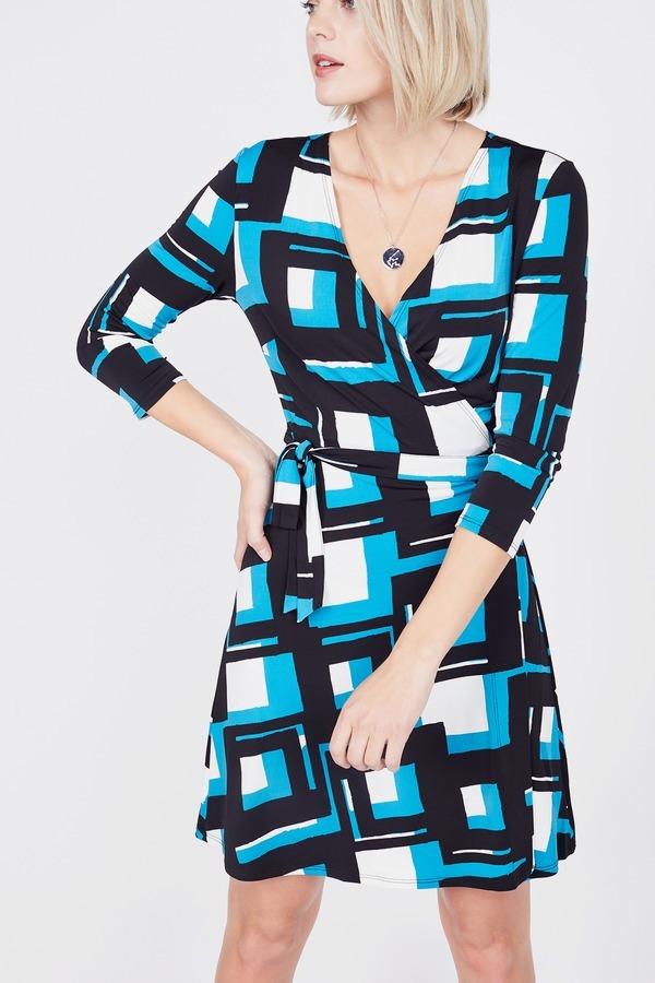 Geo Print Wrap Dress