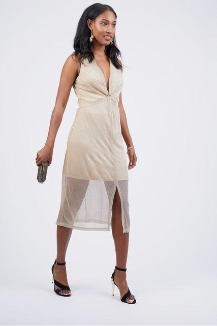 Deep V Front Twist Dress
