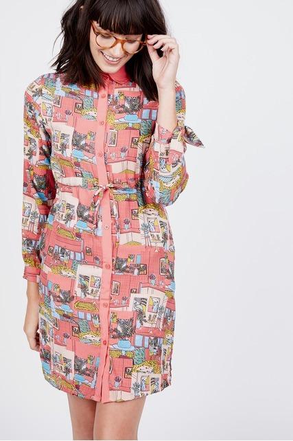 Printed Shirtdress