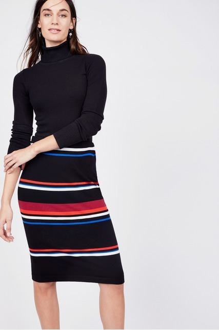 Striped Knit Pencil Skirt