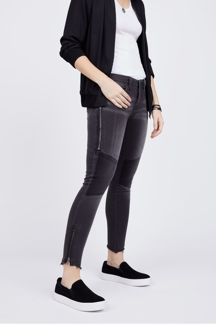 Patchwork Mid Rise Skinny Jean