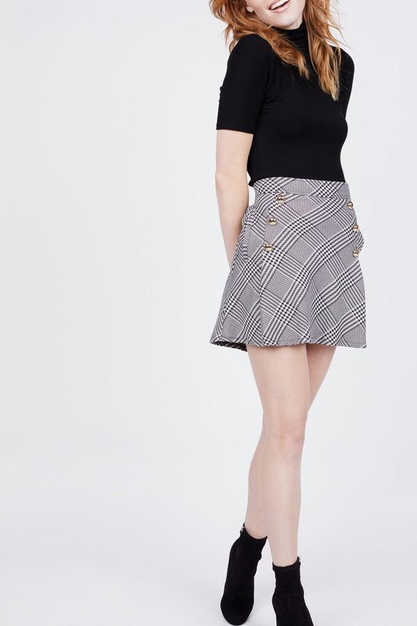 Plaid Side Button Skirt