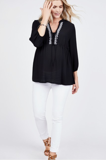 Lace Up Peasant Blouse