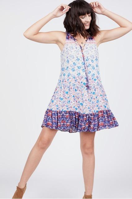 Split Neck Printed Dress