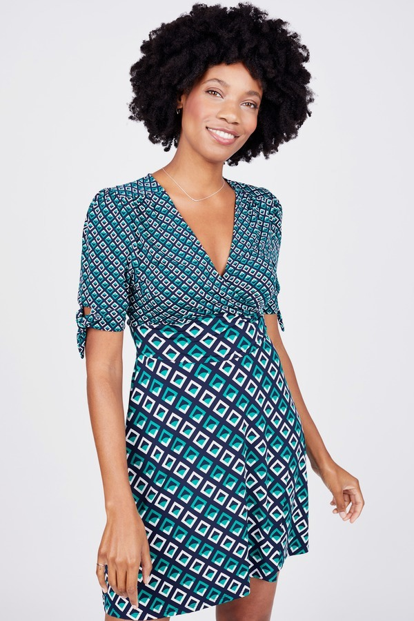 Geo Tie Sleeve Dress