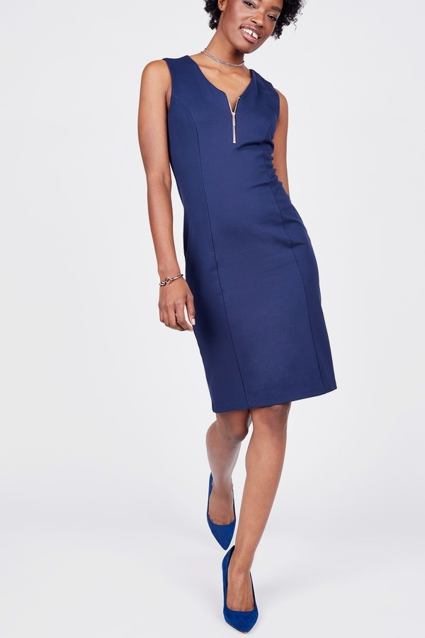 Zip Neck Ponte Dress