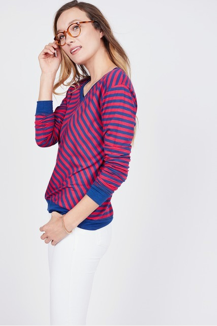 Chevron V Neck Top