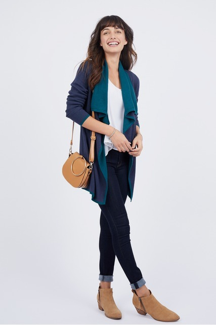 Two Tone Drape Cardigan