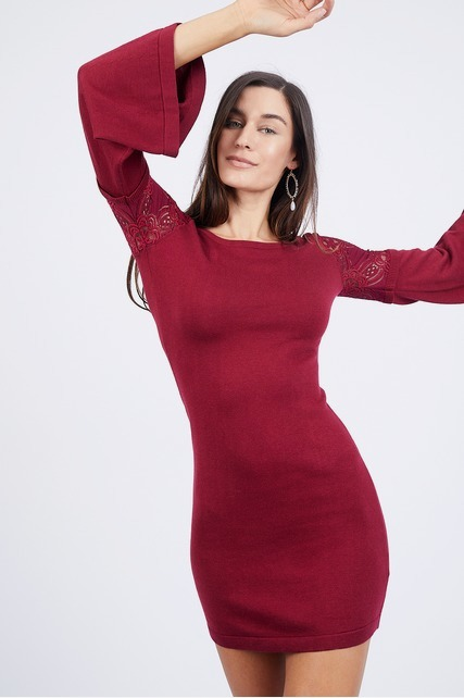 Lace Sleeve Sweater Dress