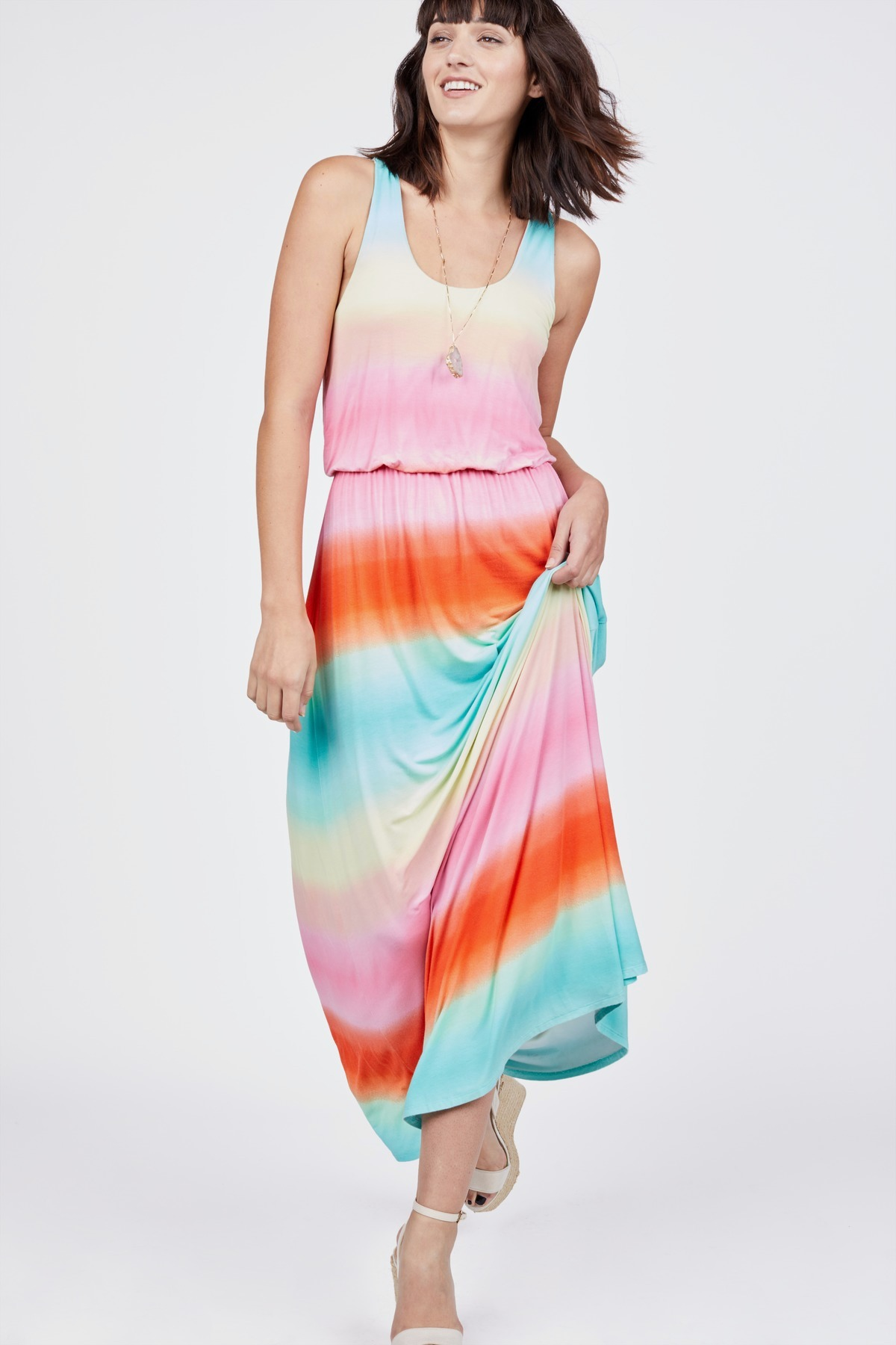 Rainbow Maxi Dress By Chelsea Theodore Rent Clothes With Le Tote