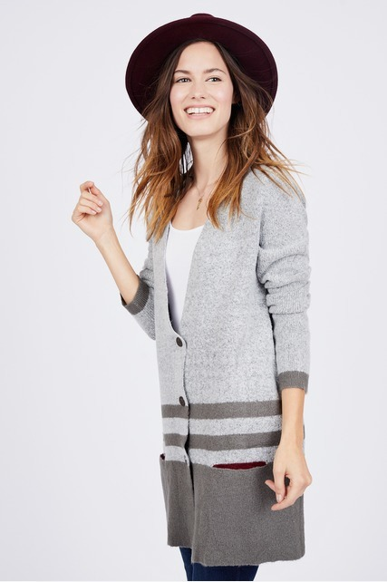 Striped Button Front Cardigan