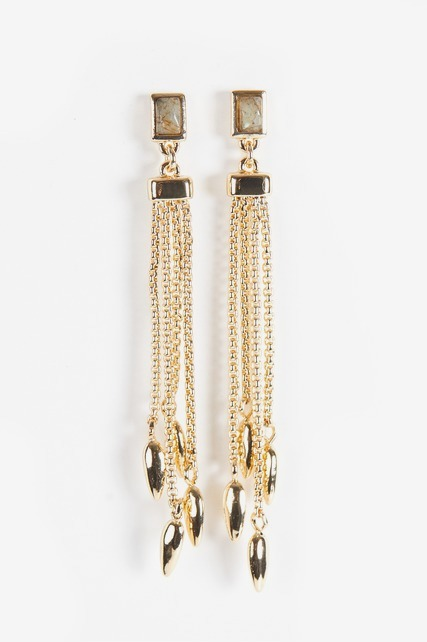 Stone and Chain Drop Earrings