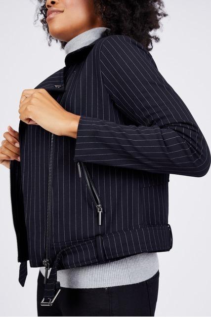 Pinstripe Moto Jacket
