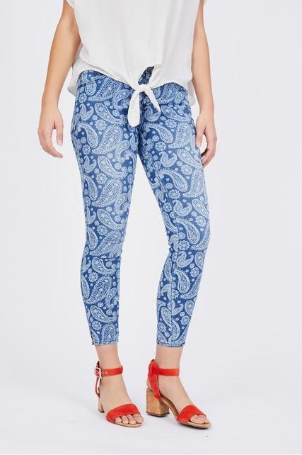 Paisley Print Mid Rise Skinny Jean