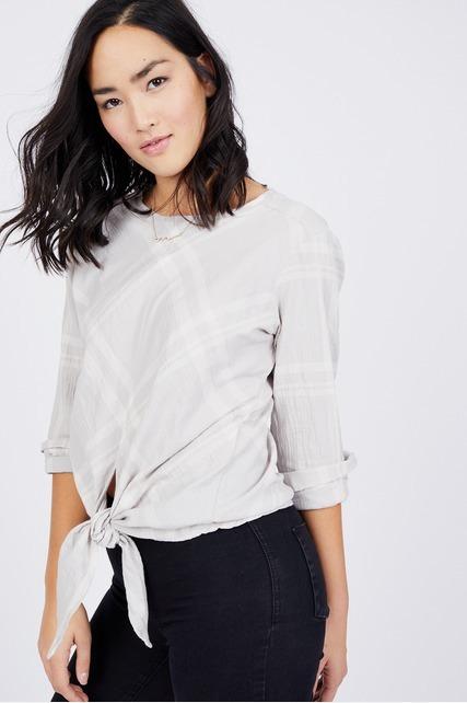 Tie Front Plaid Shirt