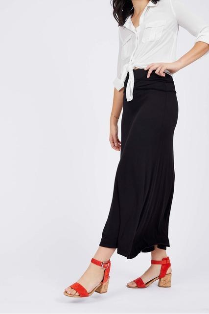 Textured Waist Maxi Skirt