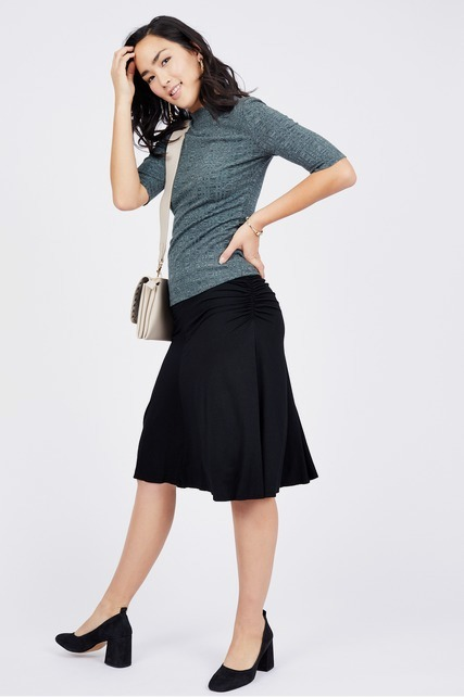 Side Ruched Swing Skirt