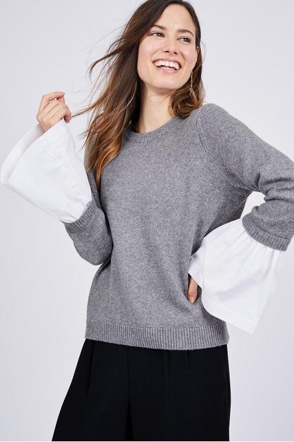 Poplin Cuff Sweater