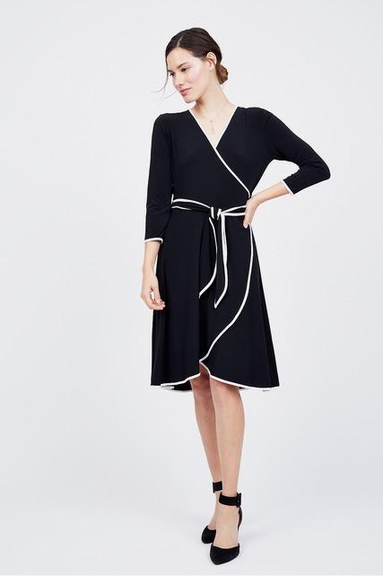 Piped Trim Wrap Dress