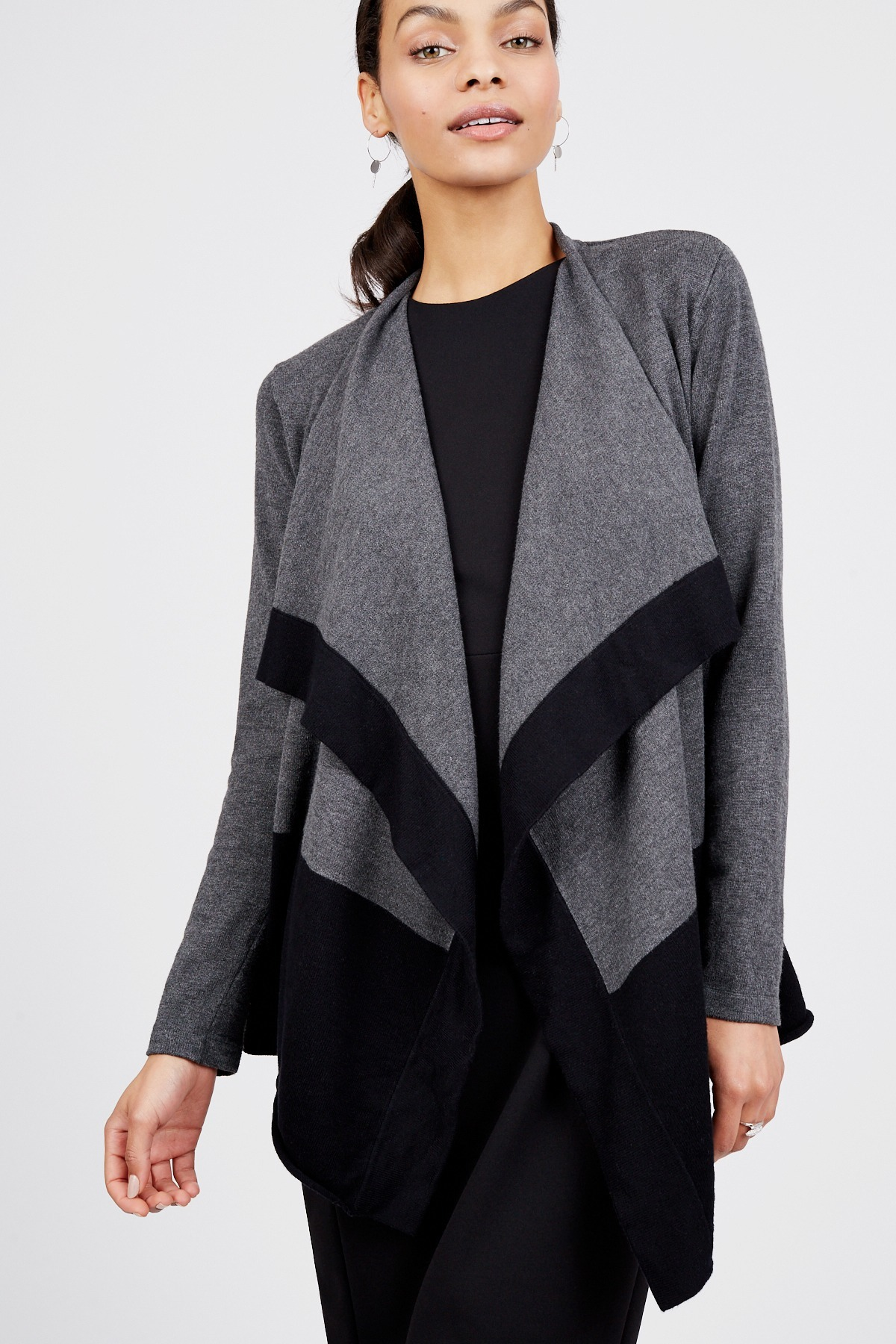 drape qui black stars michael l cardigan drapes back blk draped